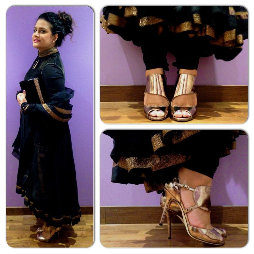 Shoes and Bag from Jimmy Choo, Anarkali from Tarun Tahiliani