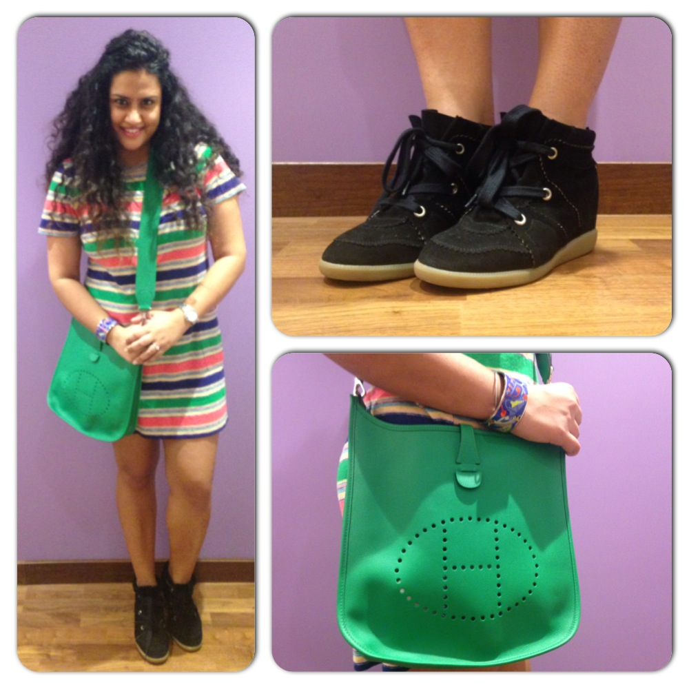Dress - Marc by Marc Jacobs, Shoes - Isabel Marant, Cuff & Bags - Hermes