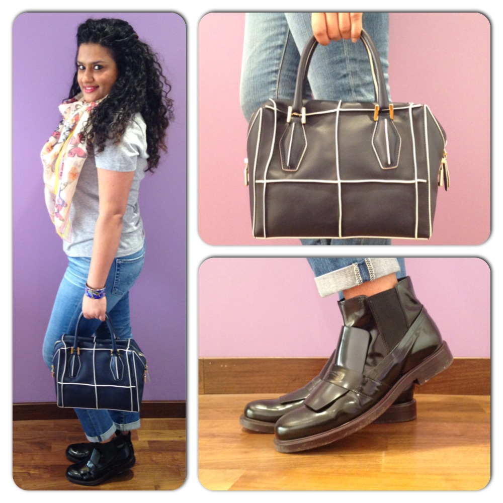 Tod's Leather Ankle Boots, Tod's D Bag, Alexander McQueen T-shirt & Scarf, Hermes Cuff and AG Jeans