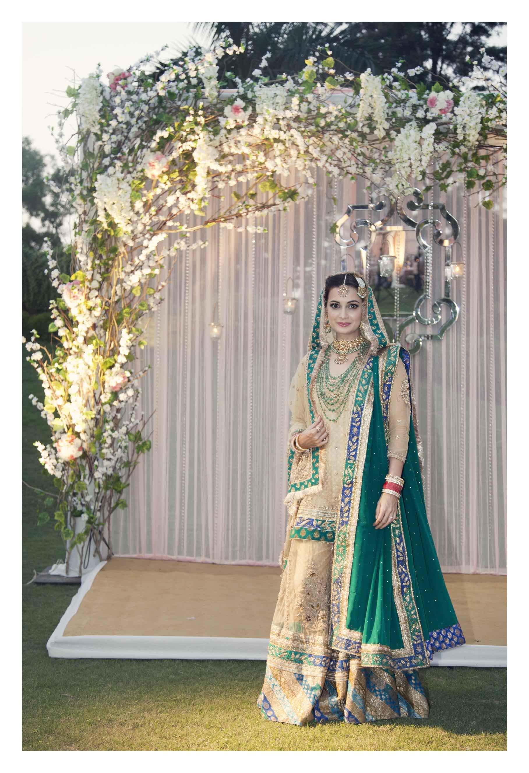 Dia Mirza in Ritu Kumar on her Wedding Day