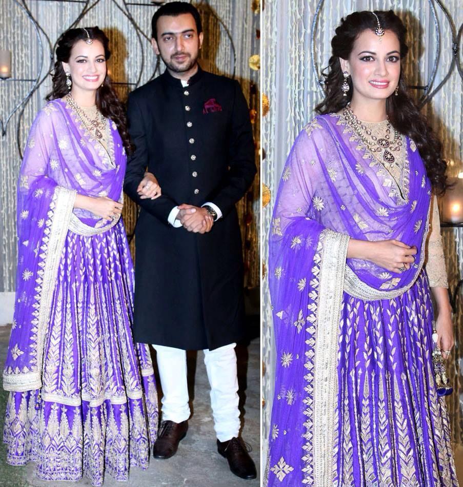 Dia Mirza in Anita Dongre at her Sangeet