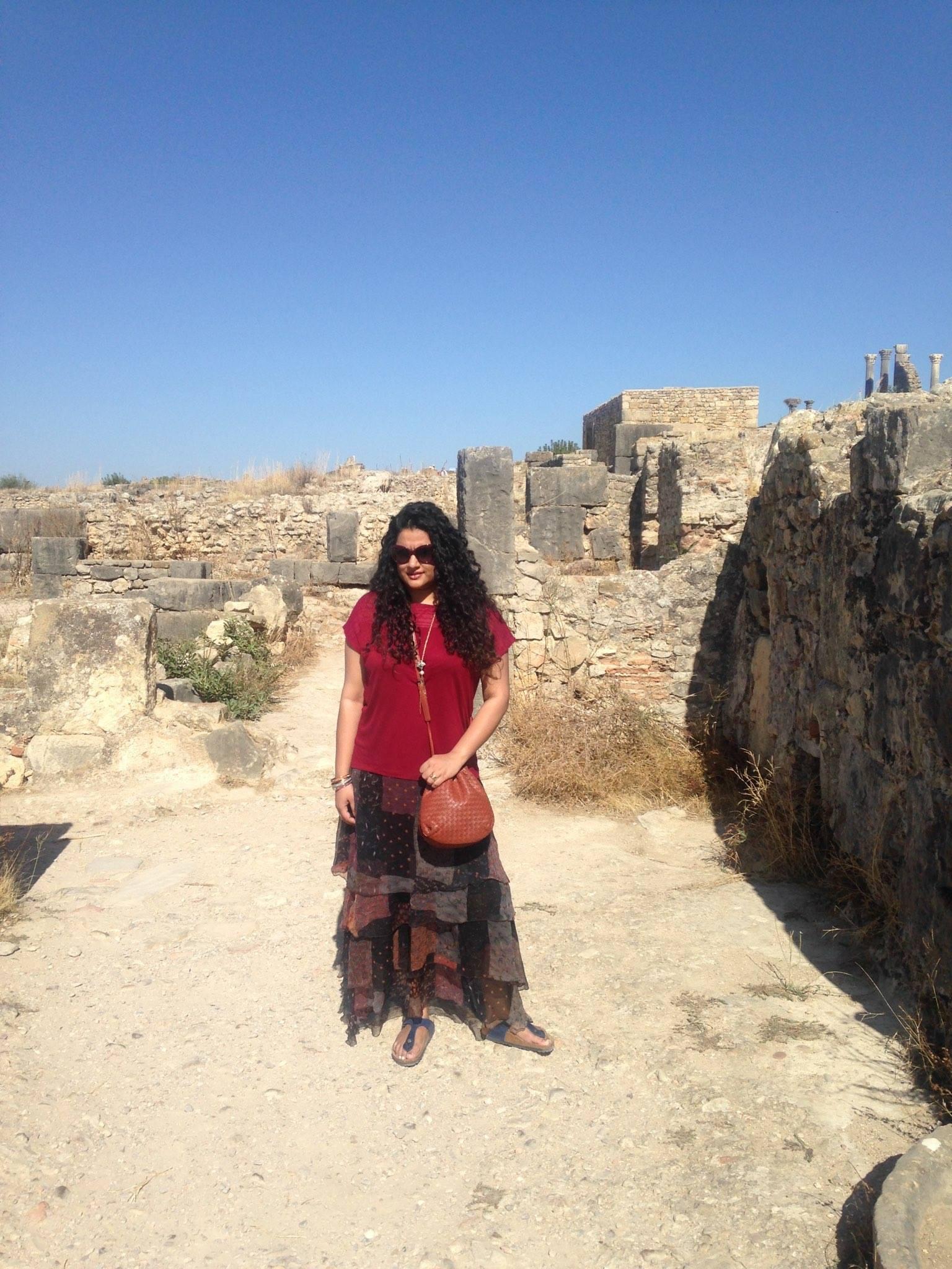 Skirt: Label by Ritu Kumar, Sandals: Birkenstock, Top: Ralph Lauren, Sling: Bottega Veneta, Bangles: Hermes, Neckpiece: Isharya, Sunglasses: Dior, Ring: Bulgari