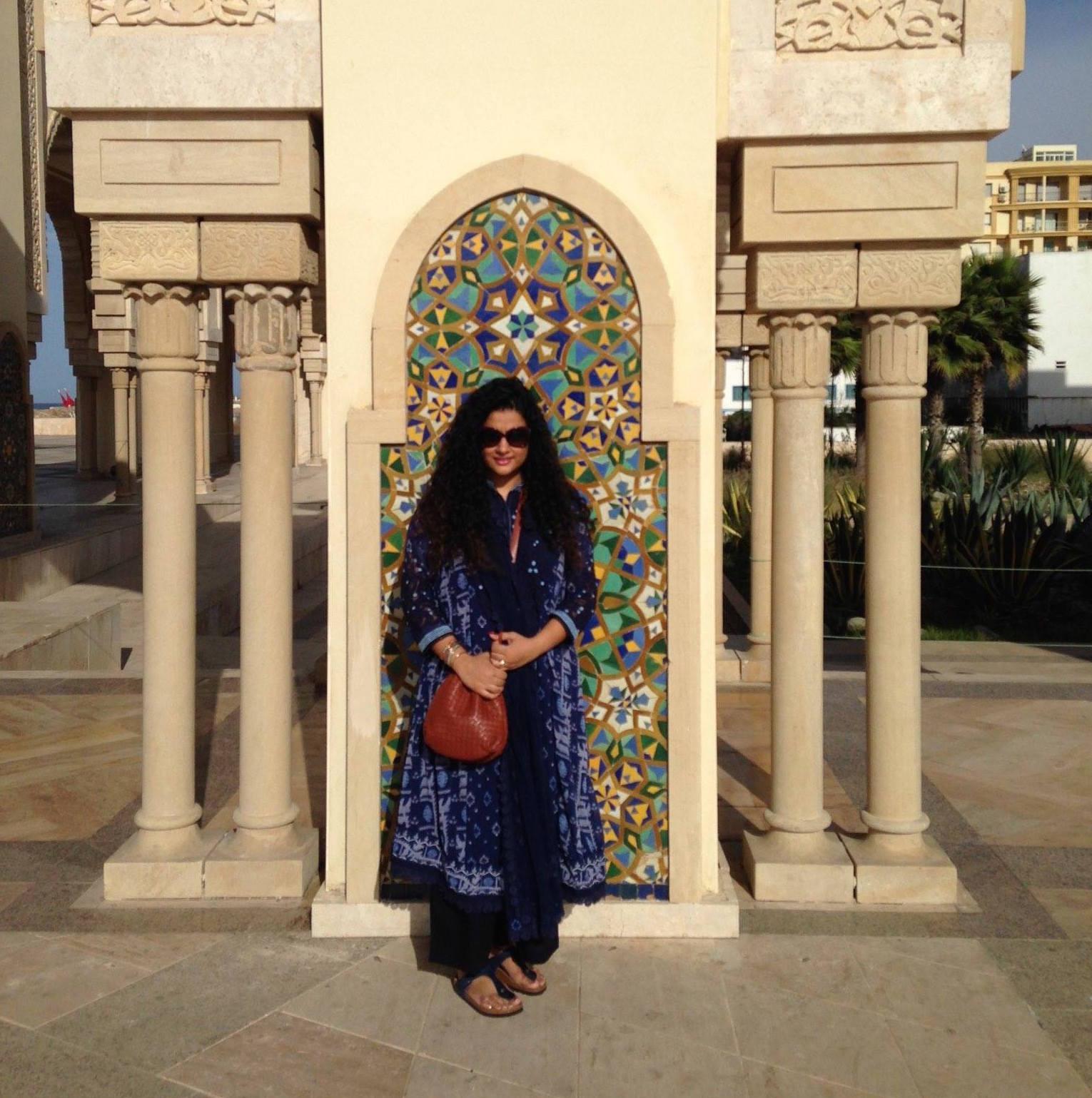 Hassan II Mosque in Casablanca   Kurta, Pants & Stole - all part of a set: Label by Ritu Kumar, Sling: Bottega Veneta, Sunglasses: Dior: Bangles: Hermes, Sandals: Birkenstock, Ring Bulgari