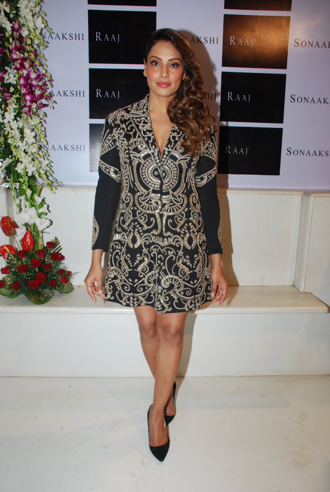 Bipasha Basu wore a black and gold detailed Blazer Dress.