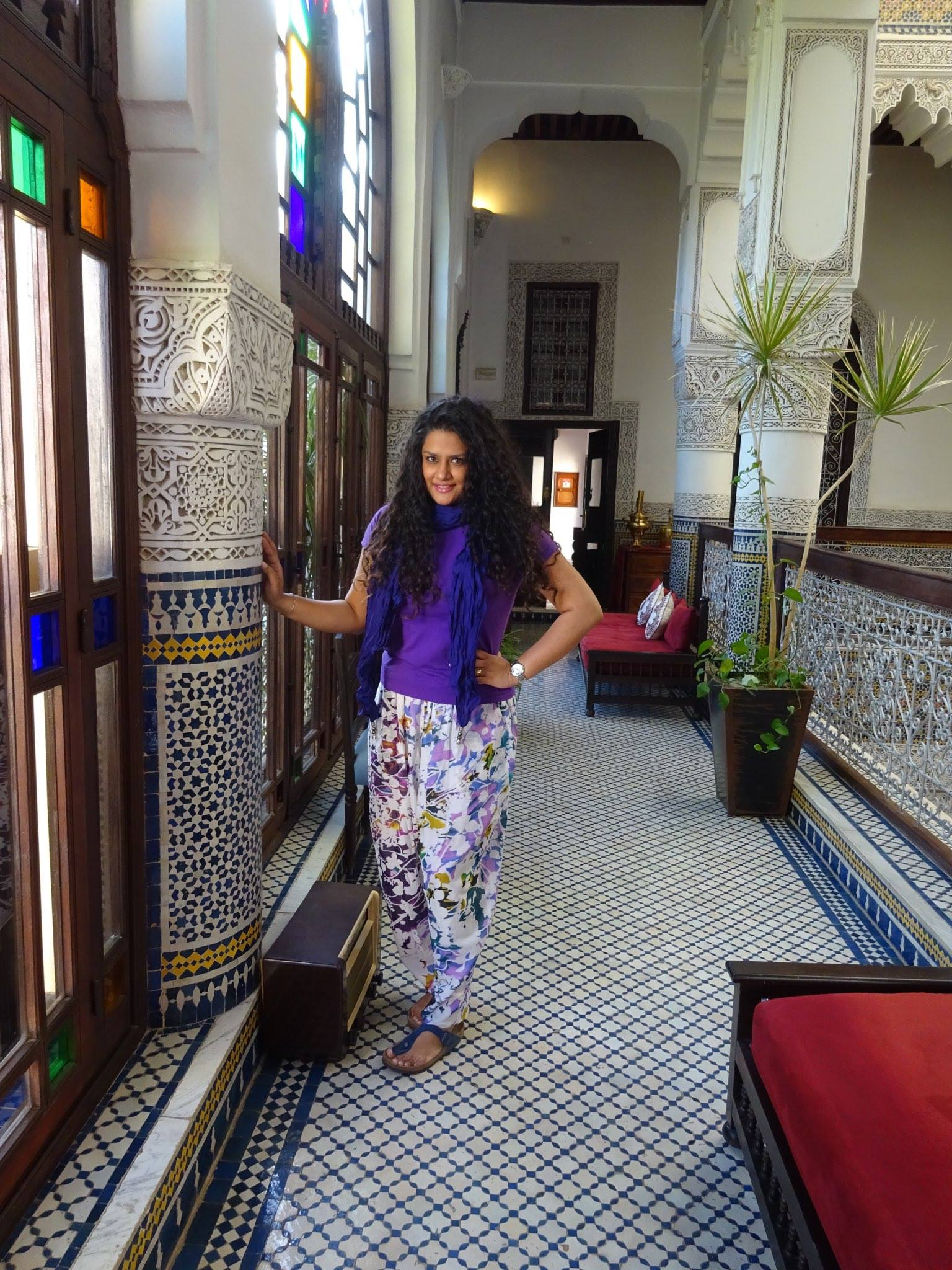 Riad Fes  Ralph Lauren T-shirt, Pashma Pants, Scarf from Koovs.com ,Birkenstock Sandals