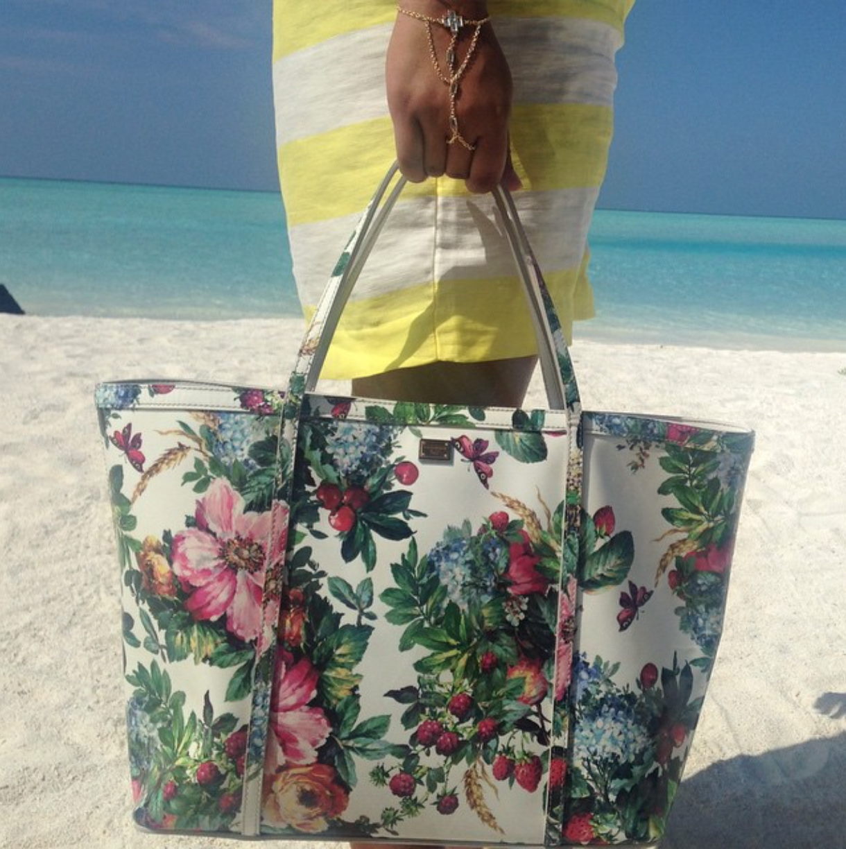 Dolce & Gabbana Floral 'Escape' Tote and Isharya Hand-Harness.