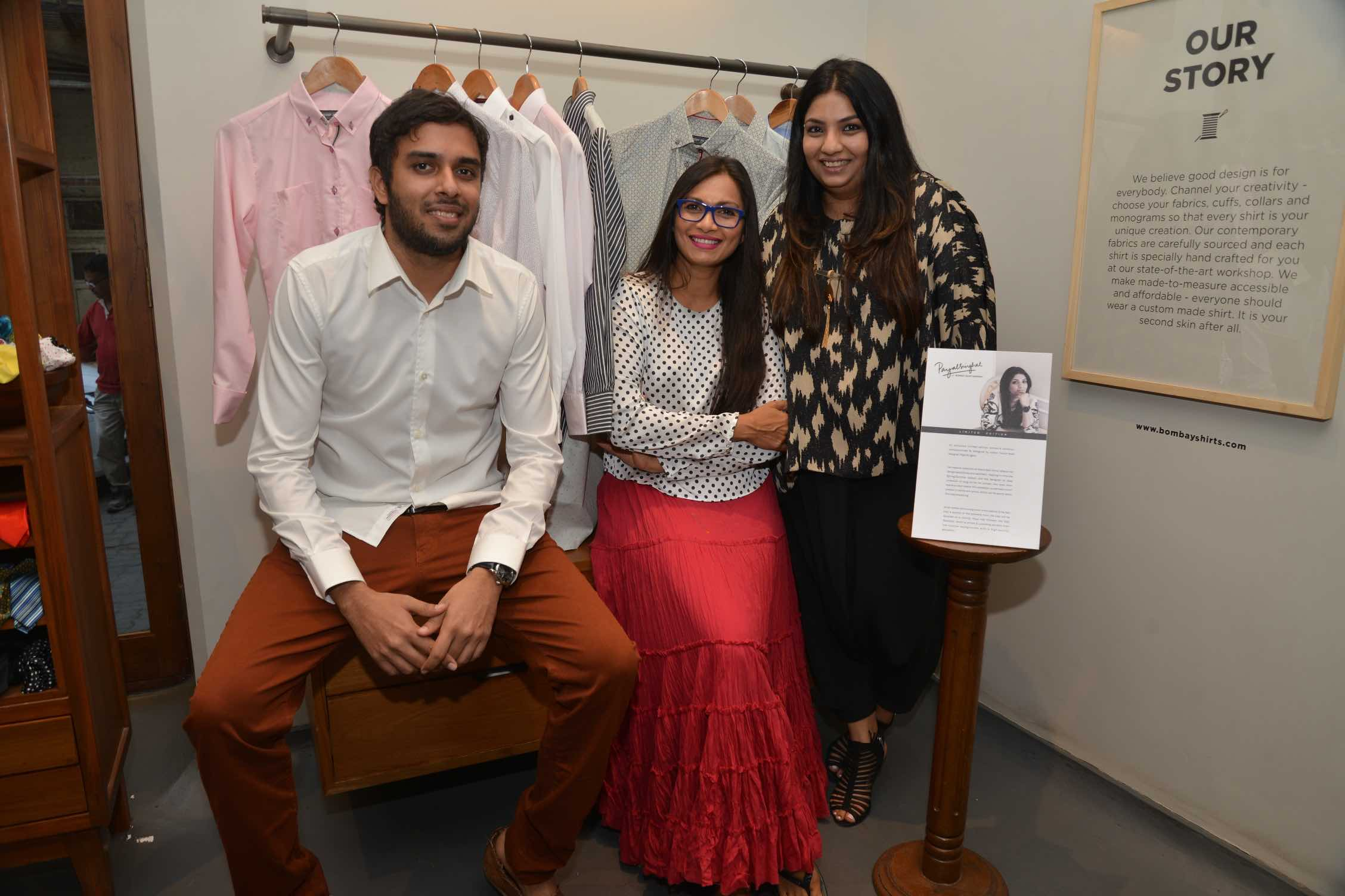 Akshay Narvekar, Founder - Bombay Shirt Company, Maria Goretti and Designer Payal Singhal at the launch of the latter's capsule collection for BSC.jpeg