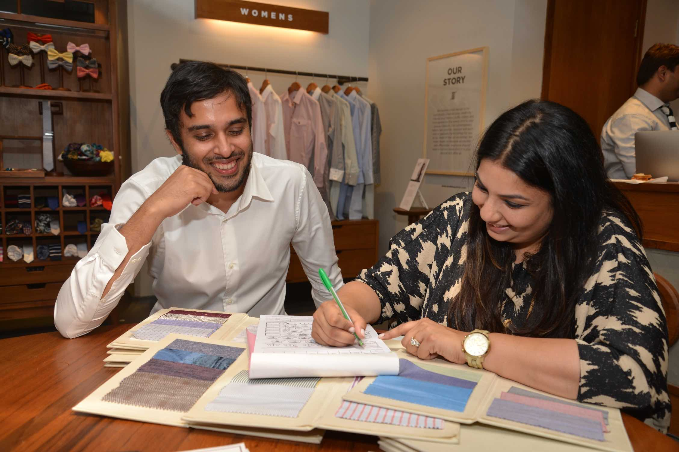 Designer Payal Singhal with Akshay Narvekar, Founder - Bombay Shirt Company,  at the launch of Payal Singhal's capsule collection for BSC - 1.jpeg