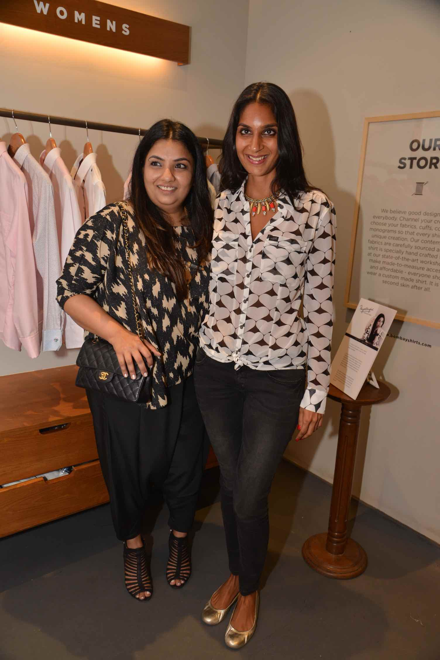 Payal Singhal with Filmmaker Soleil Nathwani at the launch of the designer's Capsule collection for Bombay Shirt Company.jpg
