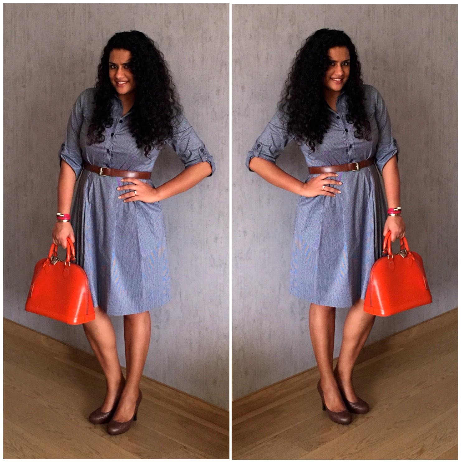 Dress: Tory Burch, Bag: Louis Vuitton, Shoes: Bottega Veneta, Belt: Michael by Michael Kors, Leather Bracelet: Bulgari, Gold Bracelet: Cartier