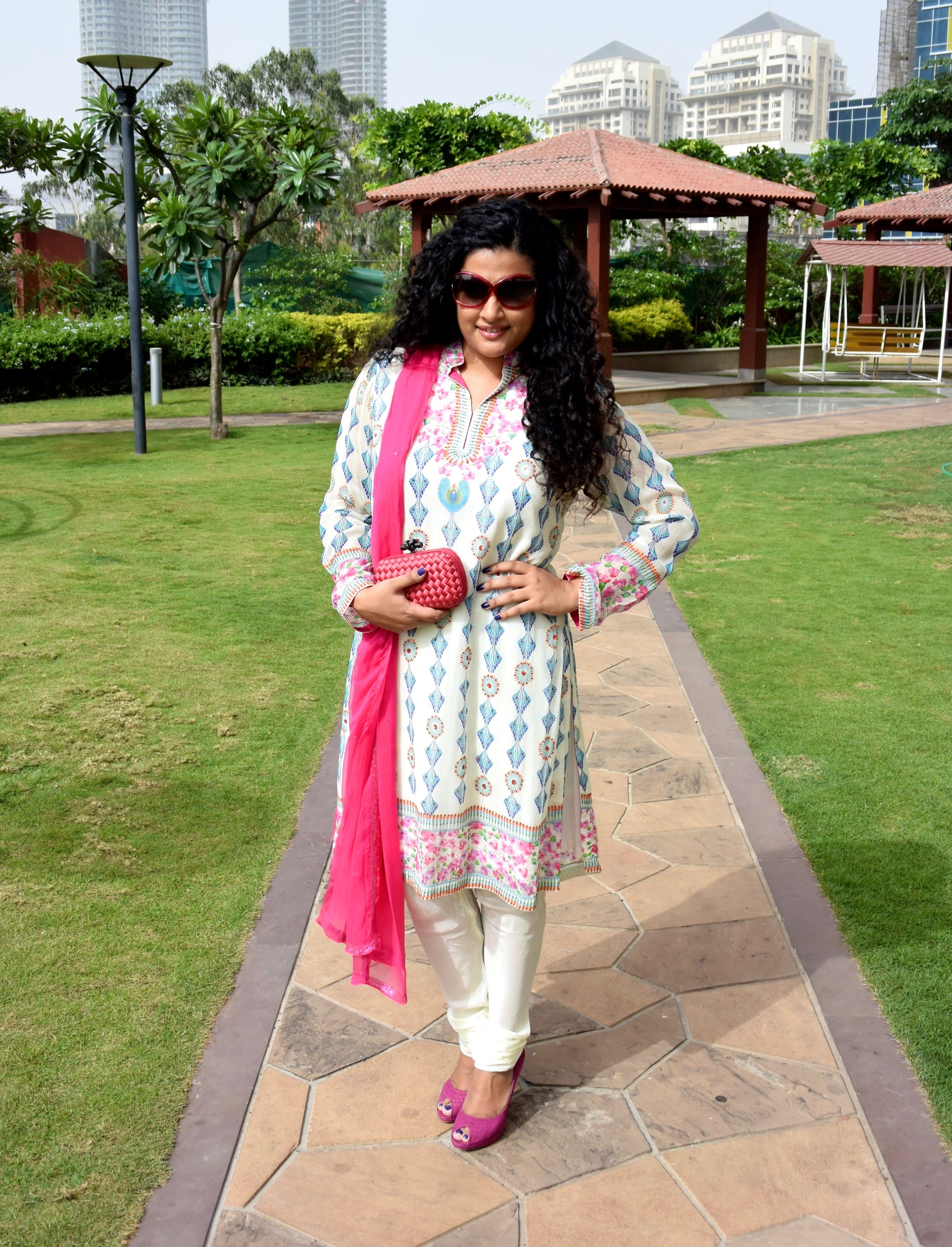 Churidar Kurta Set - Indian by Manish Arora, Clutch - Bottega Veneta, Shoes - Dior, Sunglasses - Tom Ford