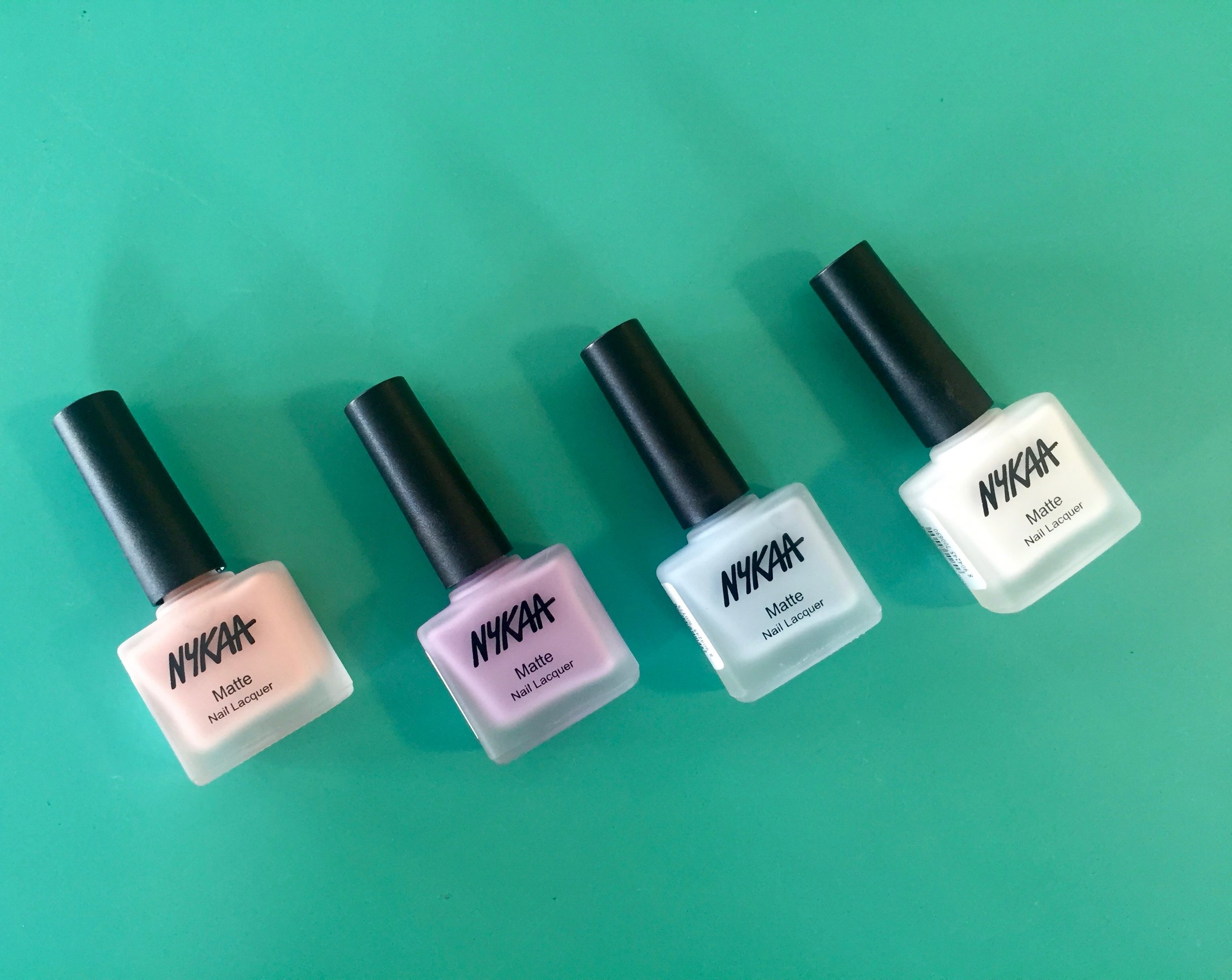 Nykaa Matte Nail Enamels in Pink Meringue, Lavender Panna Cotta, Blueberry Macaron and White Chocolate Ganache