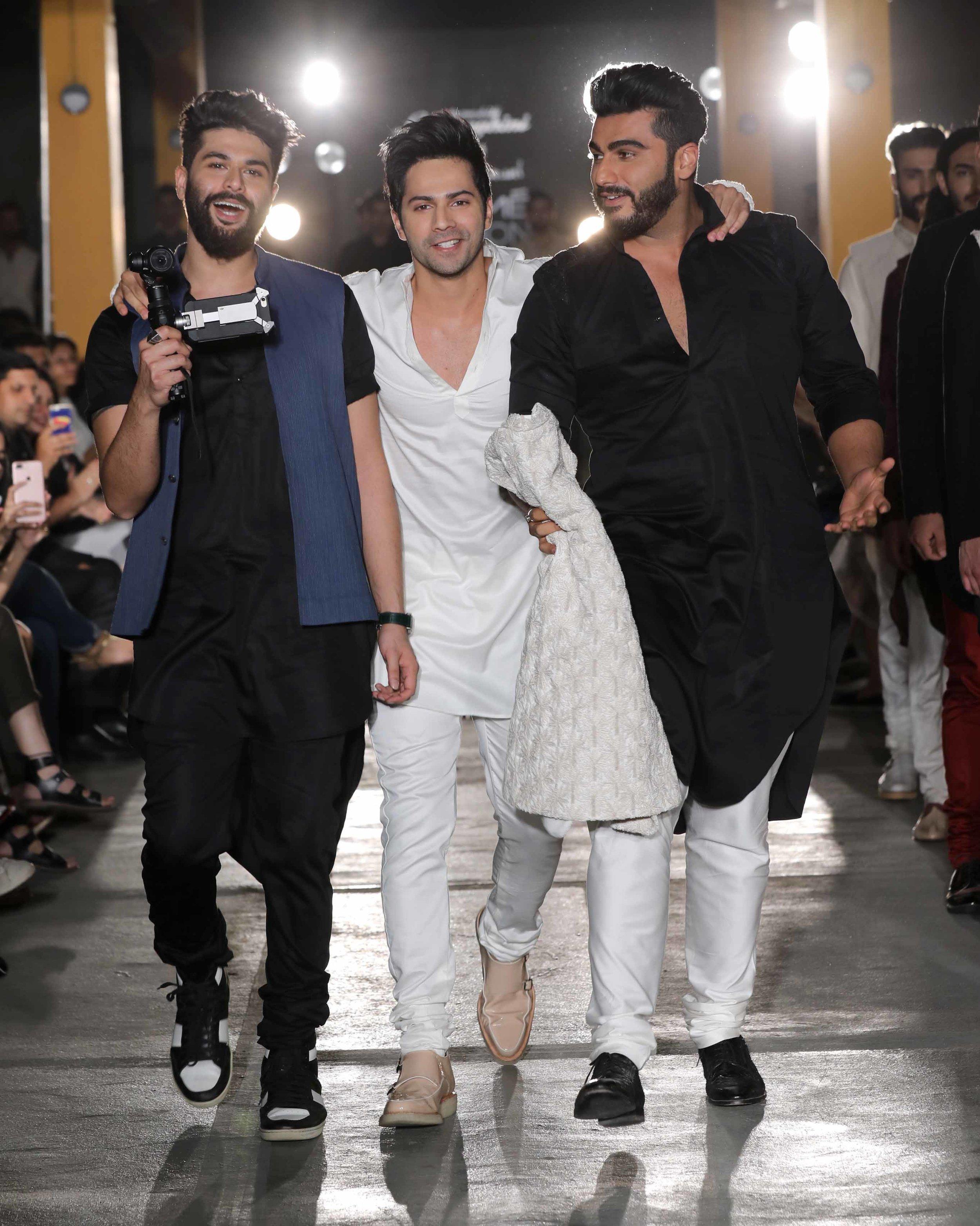 Designer Kunal Rawal with Actors Varun Dhawan and Arjun Kapoor.jpg