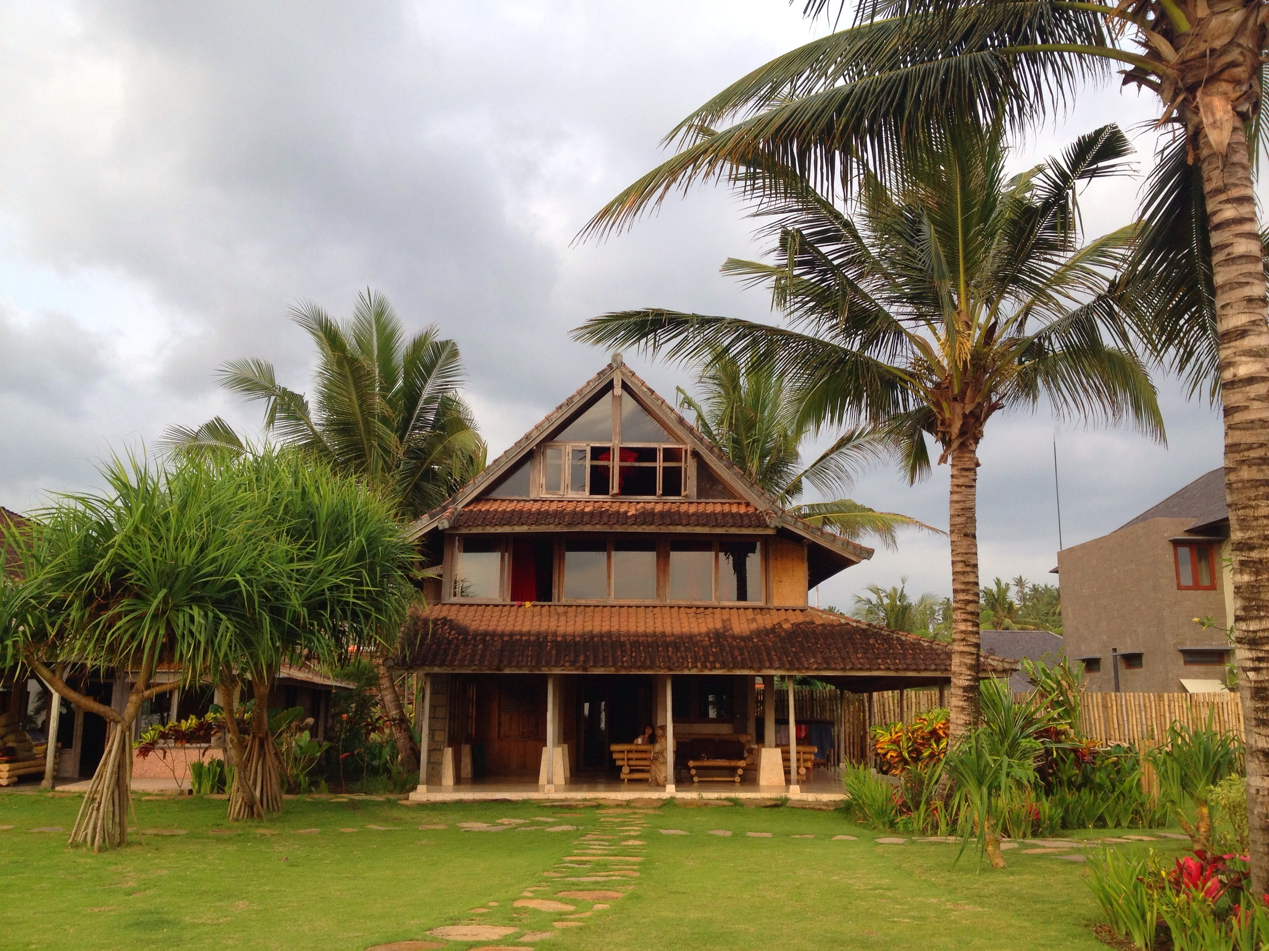 Our beachfront home at Balian Beach during the yoga teacher training in Bali. Consistent surf break every day.