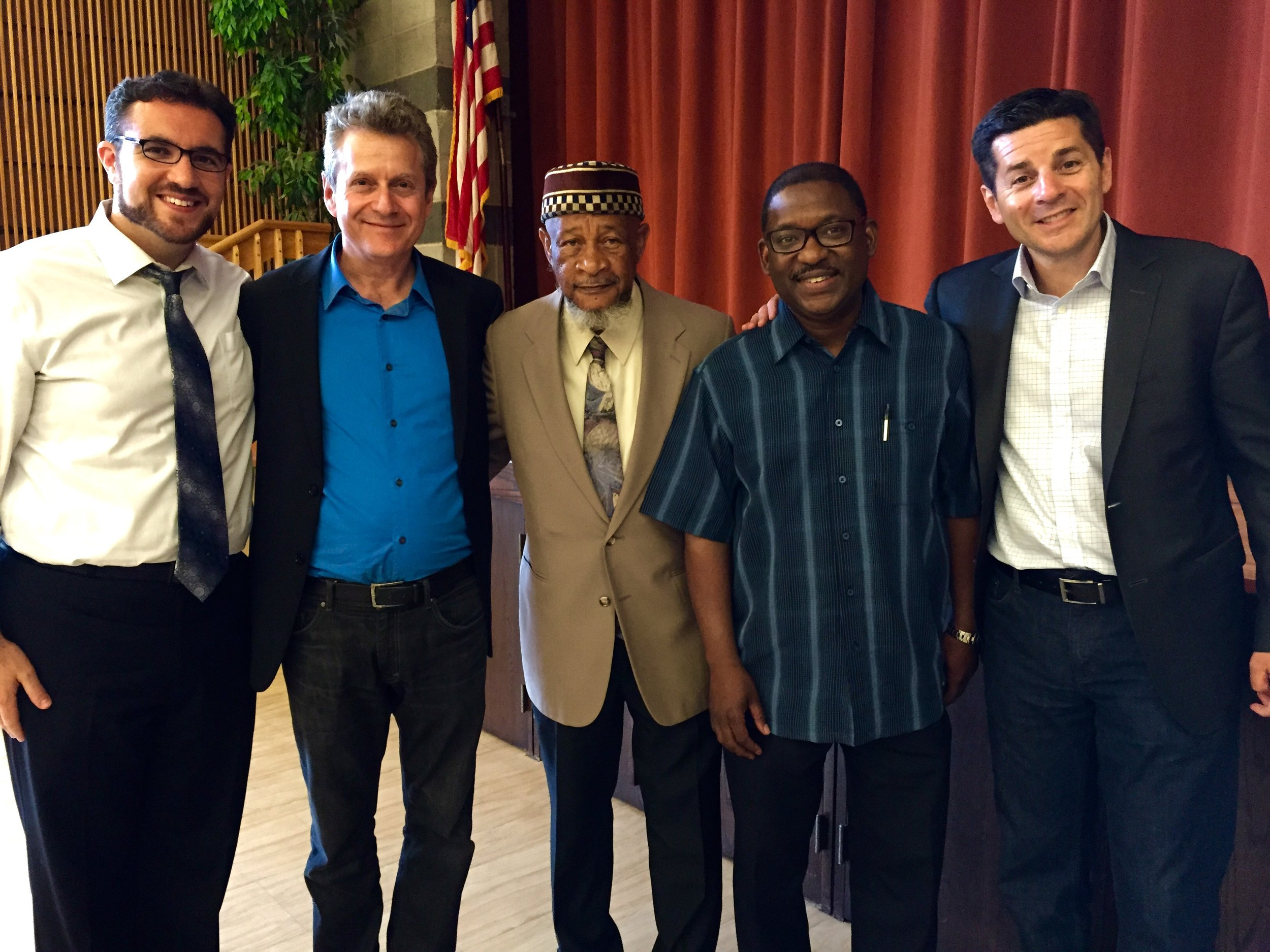 Scott and Dean with the Rabbi of Ohev Shalom in Wallingford, PA and local Imams.
