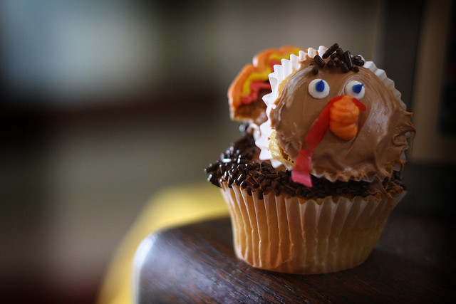 This is an image of a turkey cupcake.