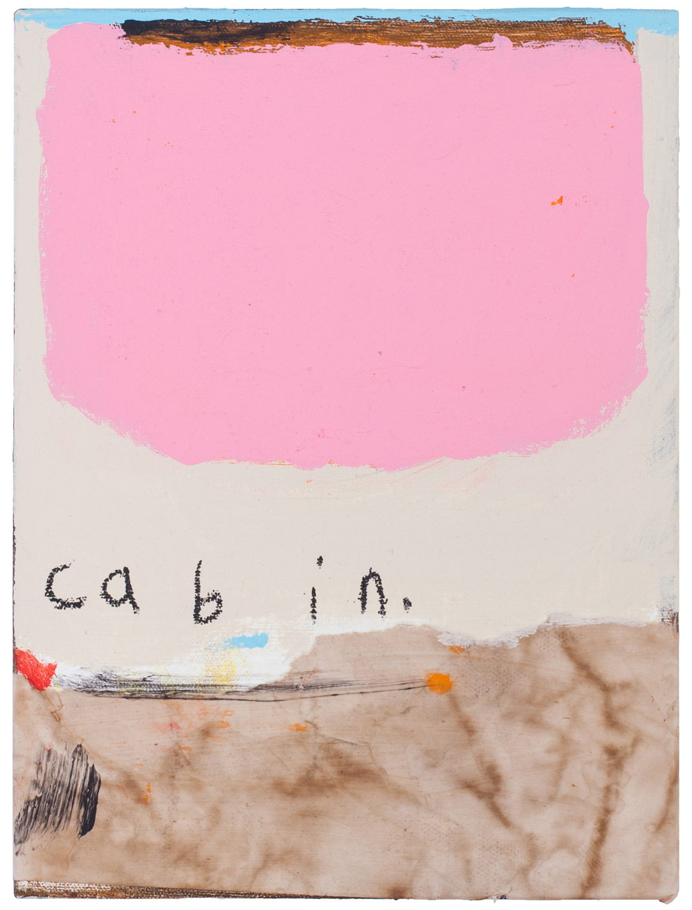 cabin   ; found paper, coffee, acrylic, oil stick on canvas , 2016