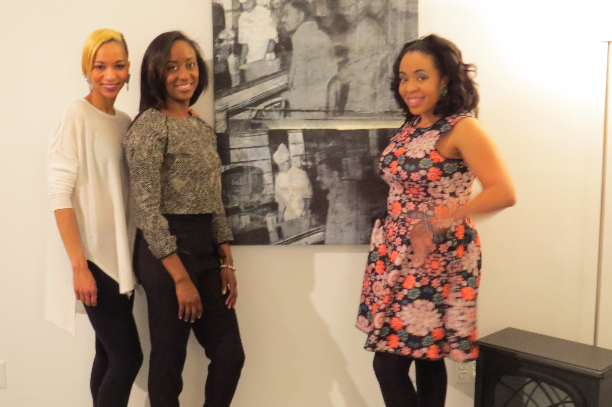 Stylist &  Blogger  Dana, Adrie D of Taper Me Bad (rocking our ' Covered in Crop ' top), and DollCirca1930 Designer Lauren pose neara familiar painting that happened to be showcased during the event. Our North Carolina A&T Four- true leaders from our alma mater, North Carolina A&T- the GreensboroFour- the first men to stage a Sit-In during the civil rights era.