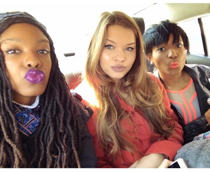 Jazmin, Maggie, & Cashaey- backseat selfie.