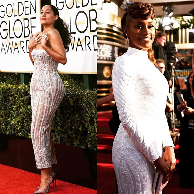 Shine Bright ✨ Tracee Ellis Ross- Blackish 🏆  Issa Rae- Insecure 🏆  #goldenglobes #whitedress #naturalhair #tapermebad #blackgirlmagic #lookswelove #fashion