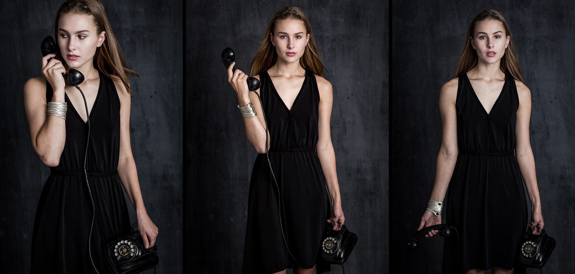 Andrea in the black dress with the phone