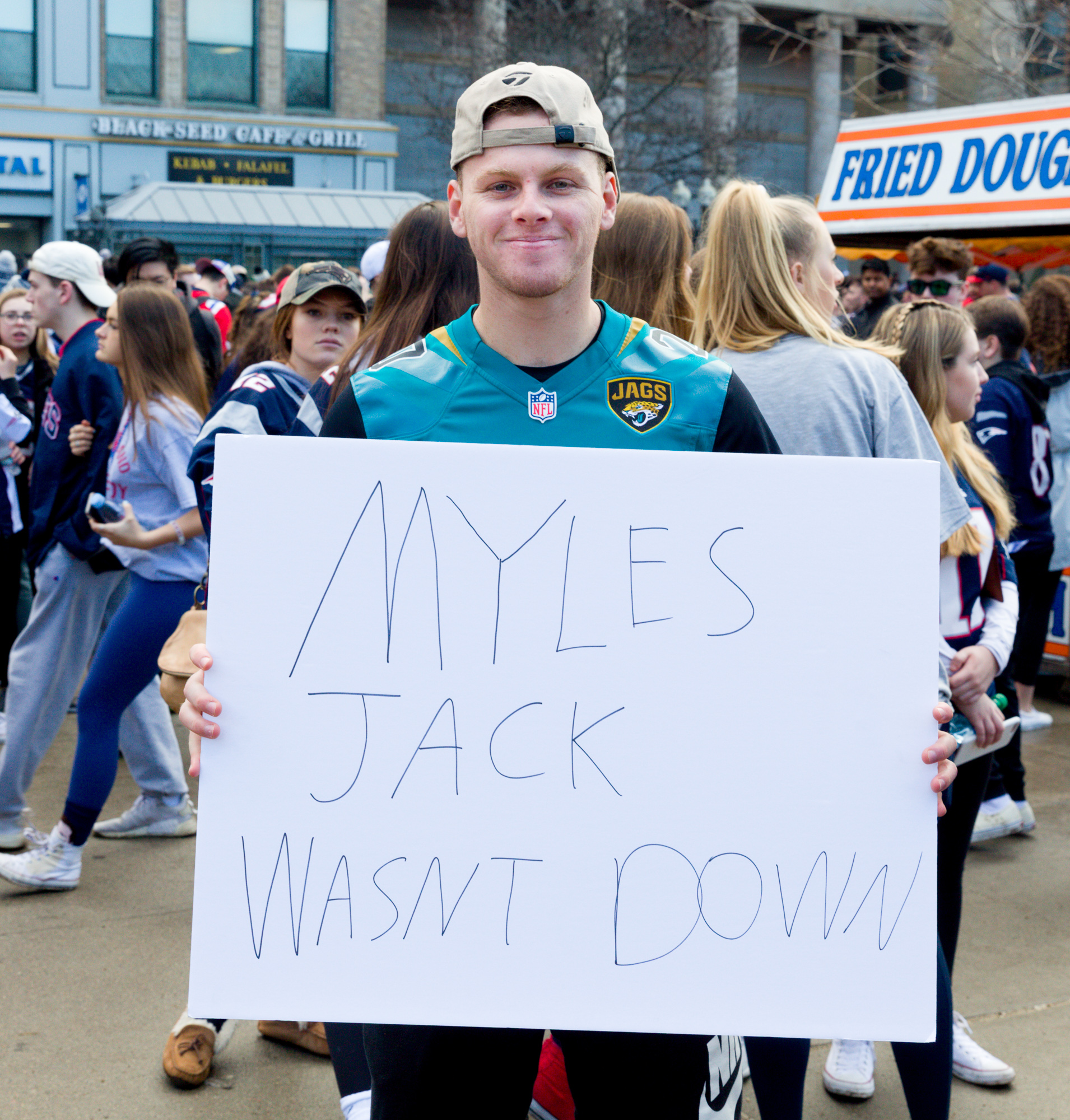Jaguars fan still upset about last year's AFC Championship game. I had to tell him that, actually, by rule, Myles Jack was indeed down.