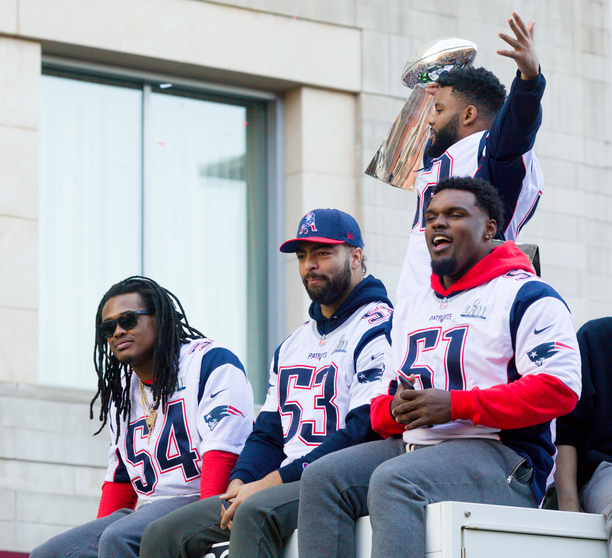 The linebackers - Dont'a Hightower, Kyle Van Noy, Elandon Roberts (with trophy) and rookie Ja'Whaun Bentley. Bentley, a promising young player, got hurt at the start of the season and spent the rest of the year on Injured Reserve.