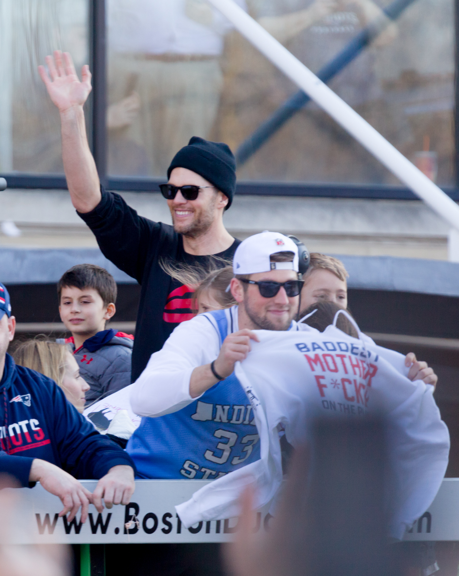OK - did manage to get a shot of Tom Brady. His son Ben is to camera left. The guy waving the 'baddest' T-shirt is rookie 3rd string quarterback Danny Etling - the future of the franchise.