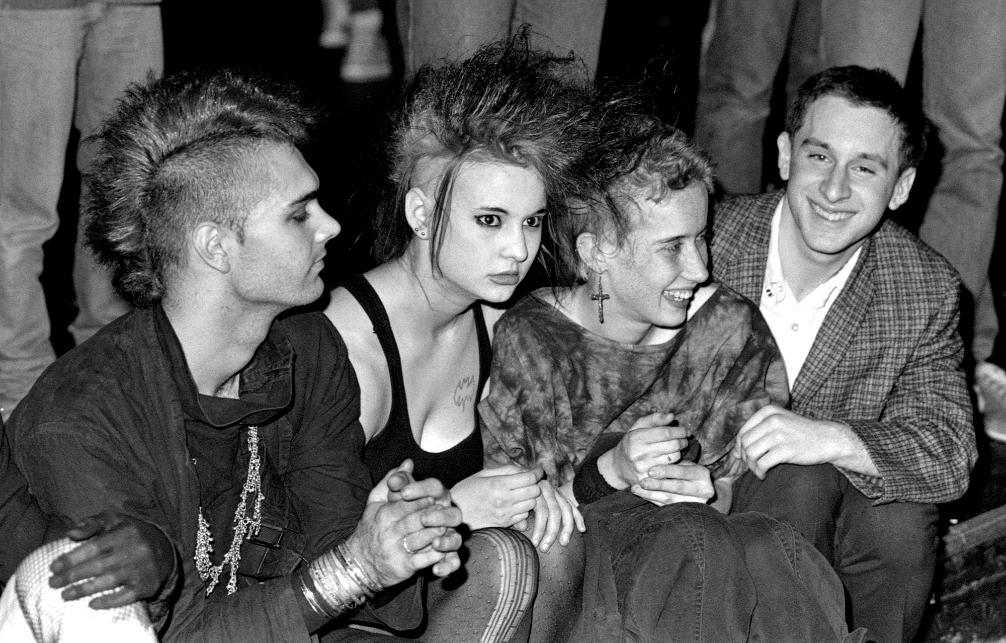 Punks take a break in the Pit, 18+ show, 1985.
