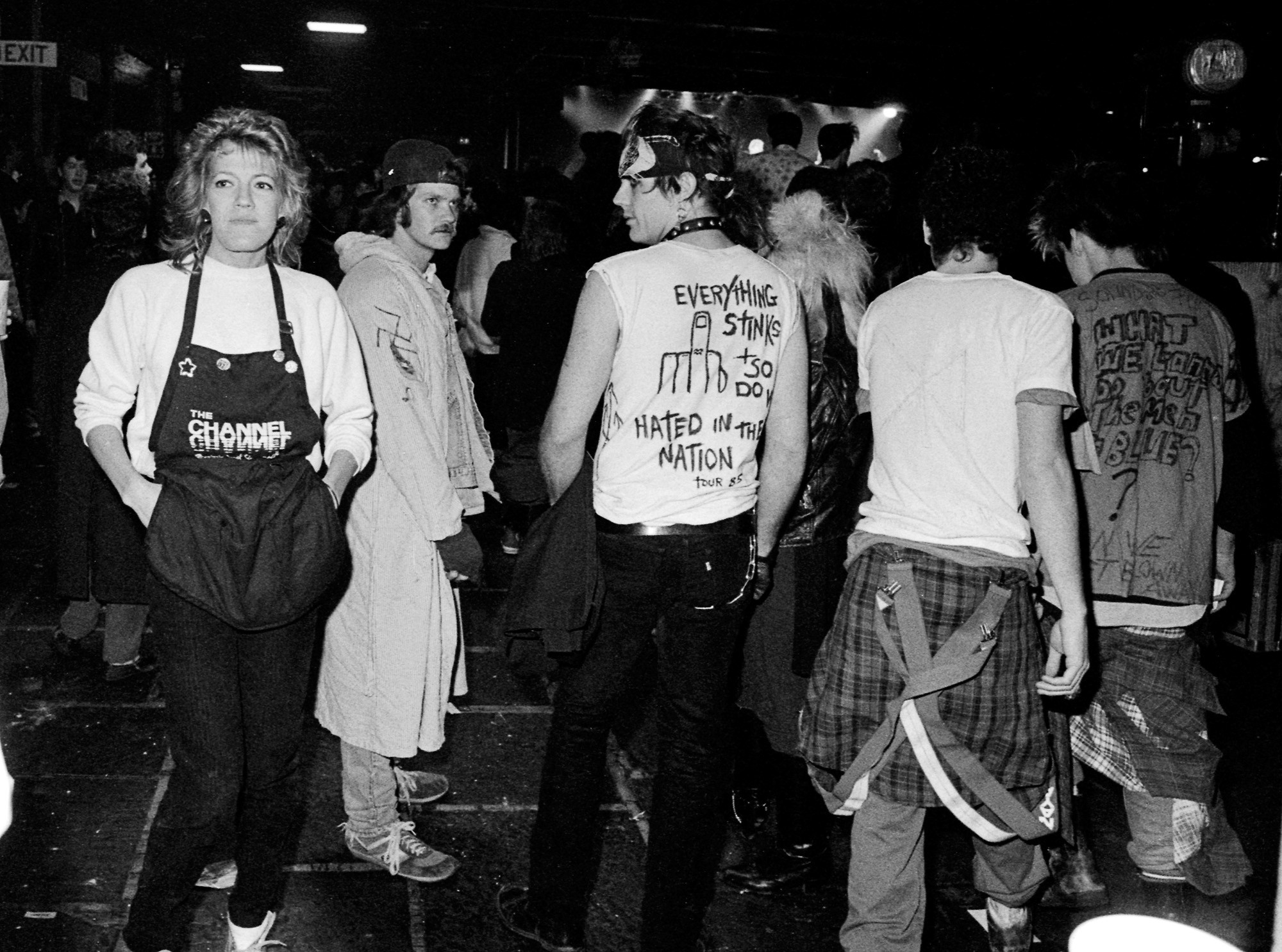 """Everything stinks + so do we...."" Punk show over the holidays, December 1985."