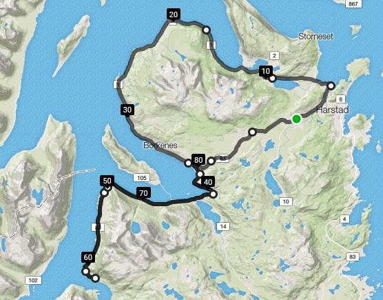 Start og mål i busslomma ved Åsegarden leir kl 13:00. Det sykles master til etter Bergsengrundkjøringa og løypen går videre over Høgda og ned i Kasfjorden, forbi Nupen og videre mot Borkenes rundt Kvæfjorden. Når man kommer til Gårakrysset går løypen til høyre og ut mot Straumen og vending på Refsnes (mellomtidsstasjon). På tur tilbake fra Refsnes mot Borkenes går løypen til høyre i Gårakrysset opp bakkene mot Kvæfjordeidet. Videre tilbake til Åsegarden leir for målgang