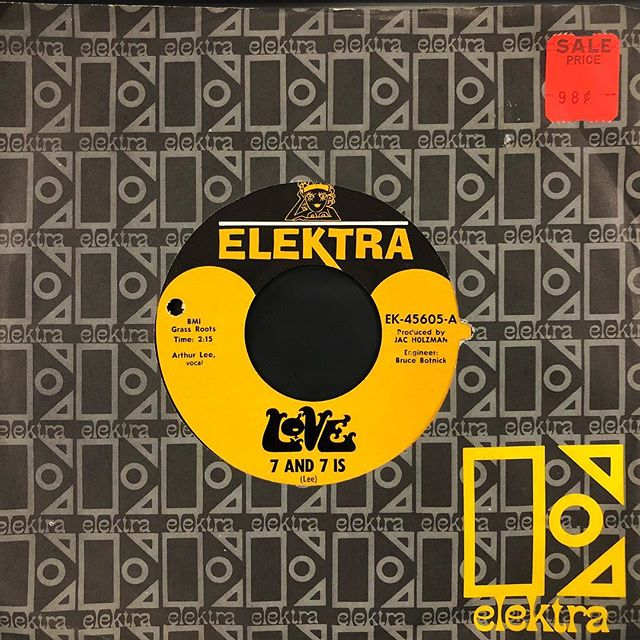 "Today, we celebrate the birthday of Arthur Lee of the band Love, who would have turned 73. This garage rock slab, ""7 and 7 Is"" was recorded June 20, 1966 at Sunset Sound Recorders and featured on the band's second record, Da Capo. Lee even had to teach the frantic drum part to drummer, Alban ""Snoopy"" Pfisterer. The song, which reached number 33 on the Billboard charts, drew inspiration from a high school sweetheart of Arthur Lee's, Anita ""Pretty"" Billings, who shared his birthday, March 7.  Vinyl from the collection of @scottcallen  #45rpm #vinyl #single #nuggets #garagerock #protopunk #rocknroll #1960s #arthurlee #love #march7 #3minrecord"