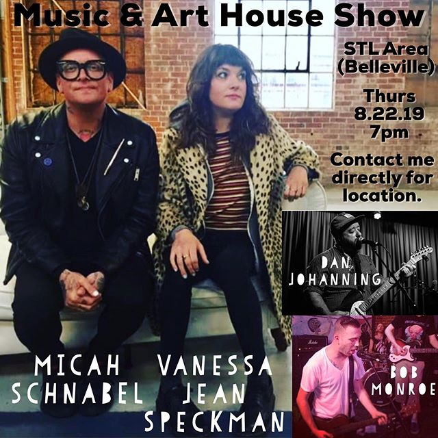 Former guests of the podcast @micahschnabel @cooooooll and @breakmouthbob  are playing a house show in Belleville. Pop up art show by @vanessajeanspeckman as well! Private message us for details if you are interested in attending. Thanks!