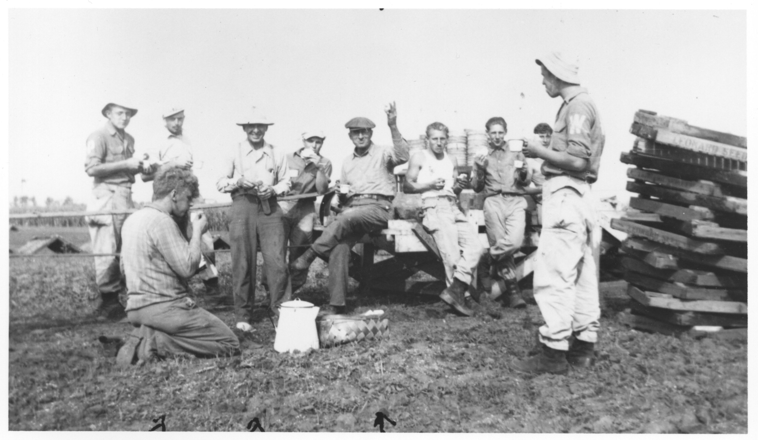"These German POWS lived at Camp Pine in Des Plaines during World War II. They are shown eating lunch at the Mahler Farm where they worked. Also pictured are Fred Mahler, August Sell, and Russell Mahler.         Normal   0           false   false   false     EN-US   X-NONE   X-NONE                                                                                                                                                                                                                                                                                                                                                                           /* Style Definitions */  table.MsoNormalTable 	{mso-style-name:""Table Normal""; 	mso-tstyle-rowband-size:0; 	mso-tstyle-colband-size:0; 	mso-style-noshow:yes; 	mso-style-priority:99; 	mso-style-parent:""""; 	mso-padding-alt:0in 5.4pt 0in 5.4pt; 	mso-para-margin-top:0in; 	mso-para-margin-right:0in; 	mso-para-margin-bottom:10.0pt; 	mso-para-margin-left:0in; 	line-height:115%; 	mso-pagination:widow-orphan; 	font-size:11.0pt; 	font-family:""Calibri"",""sans-serif""; 	mso-ascii-font-family:Calibri; 	mso-ascii-theme-font:minor-latin; 	mso-hansi-font-family:Calibri; 	mso-hansi-theme-font:minor-latin;}"