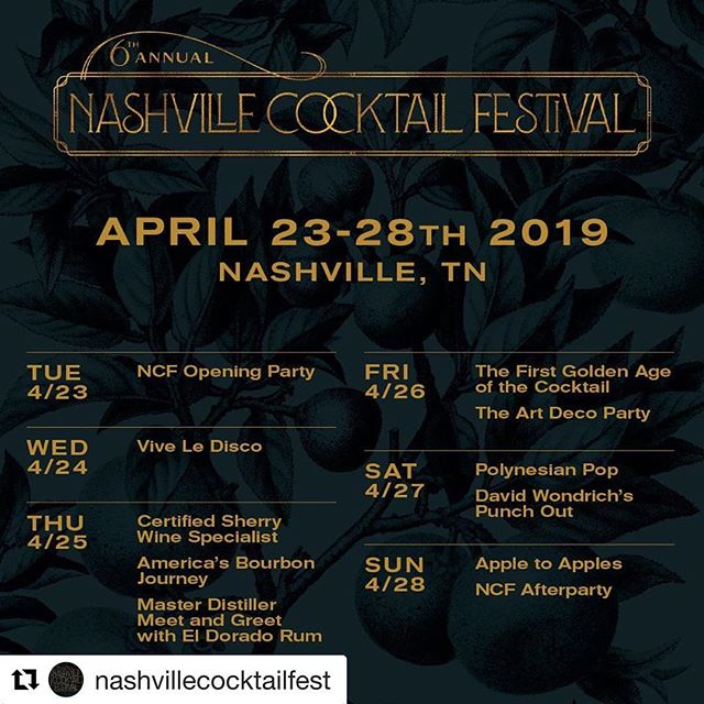 You don't want to miss out on this - see you there? —- #Repost @nashvillecocktailfest ・・・ We hope you're joining us at the 6th annual NCF!  Here's an overview of our entire 2019 schedule.  Tickets available through profile link! 🥂