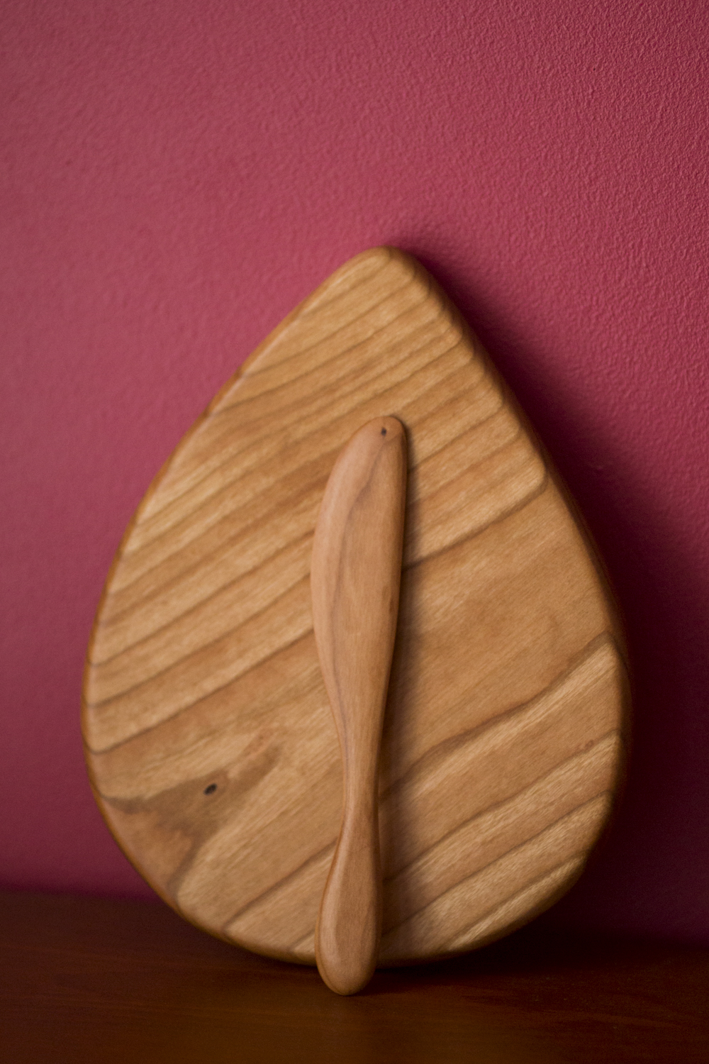 Serving board (cherry) and knife (tigerwood)