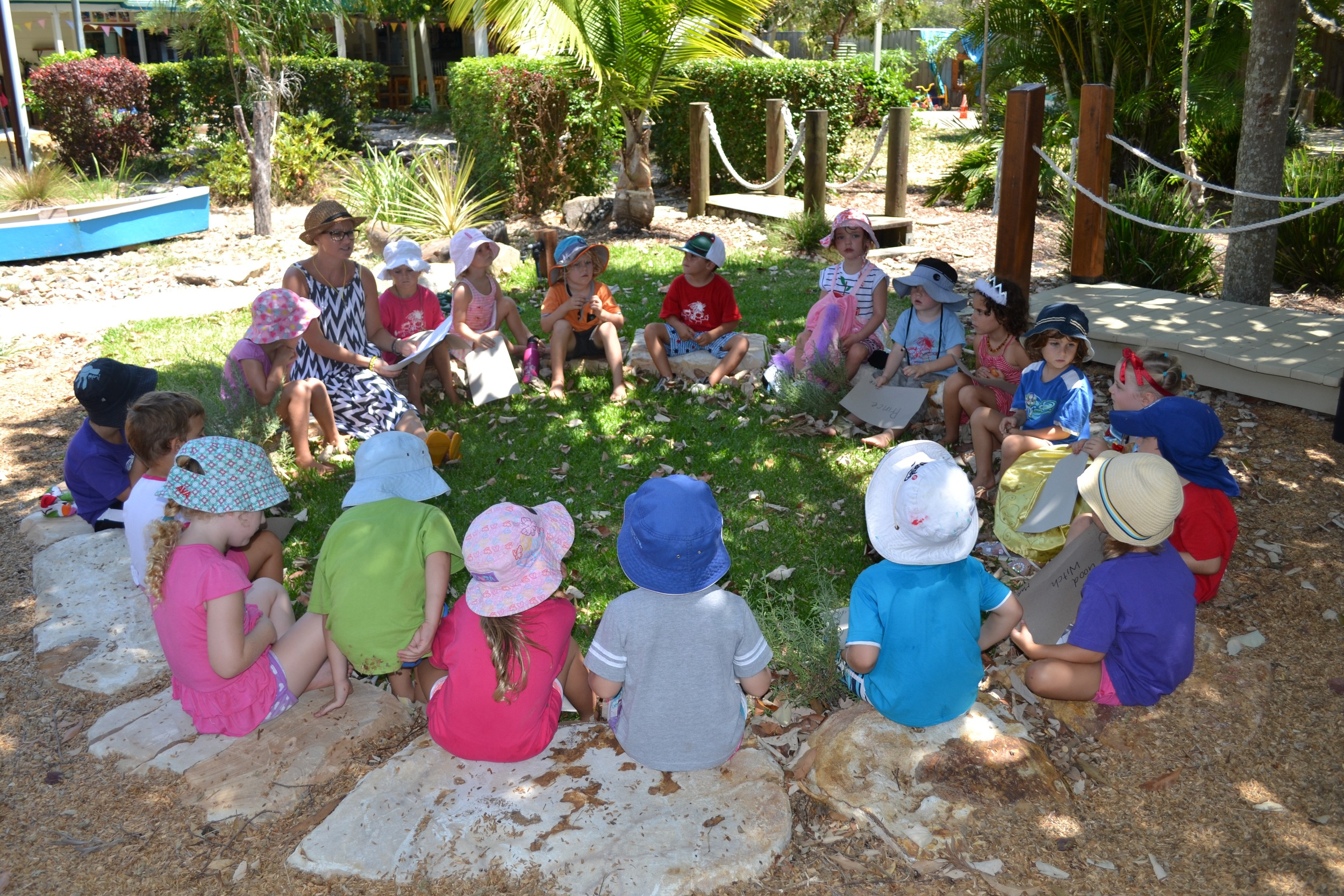 Meeting circle becomes an outdoor classroom
