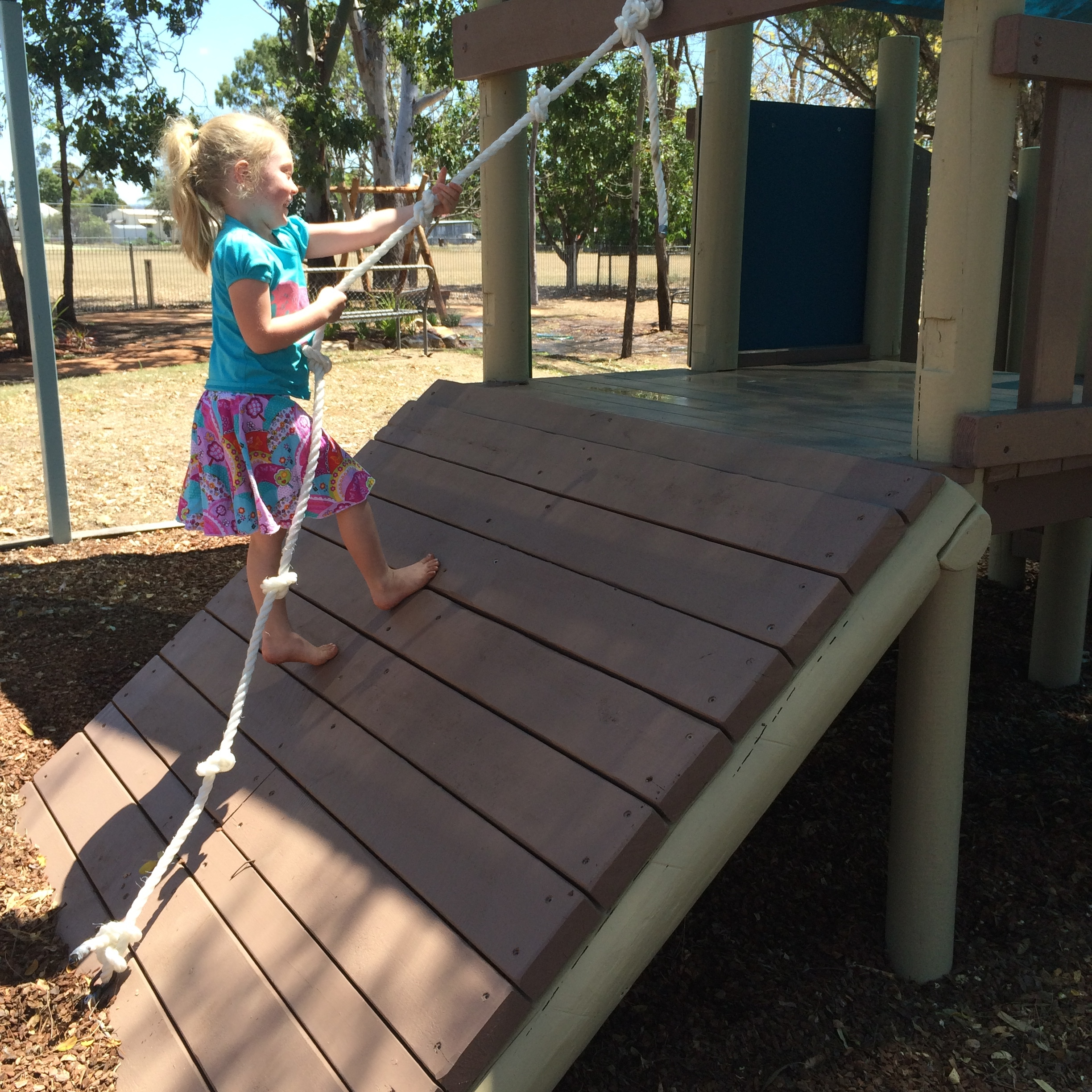 Mackenzie gives the new climb ramp a workout.