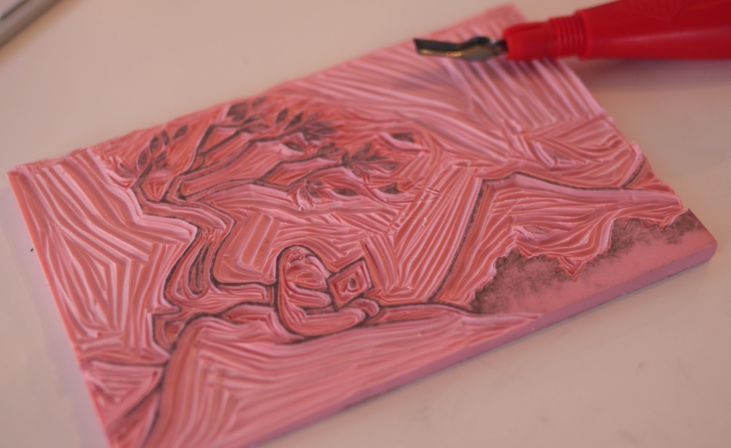 """Used the """"easy to cut"""" rubber speedball linocut look-a-like to make my print."""