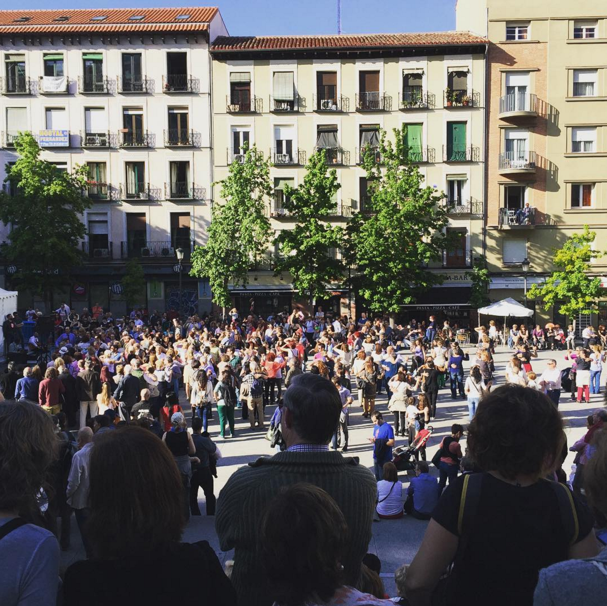 Dancing in the street! Near the Reina Sofia museum during the San Isidro festival.