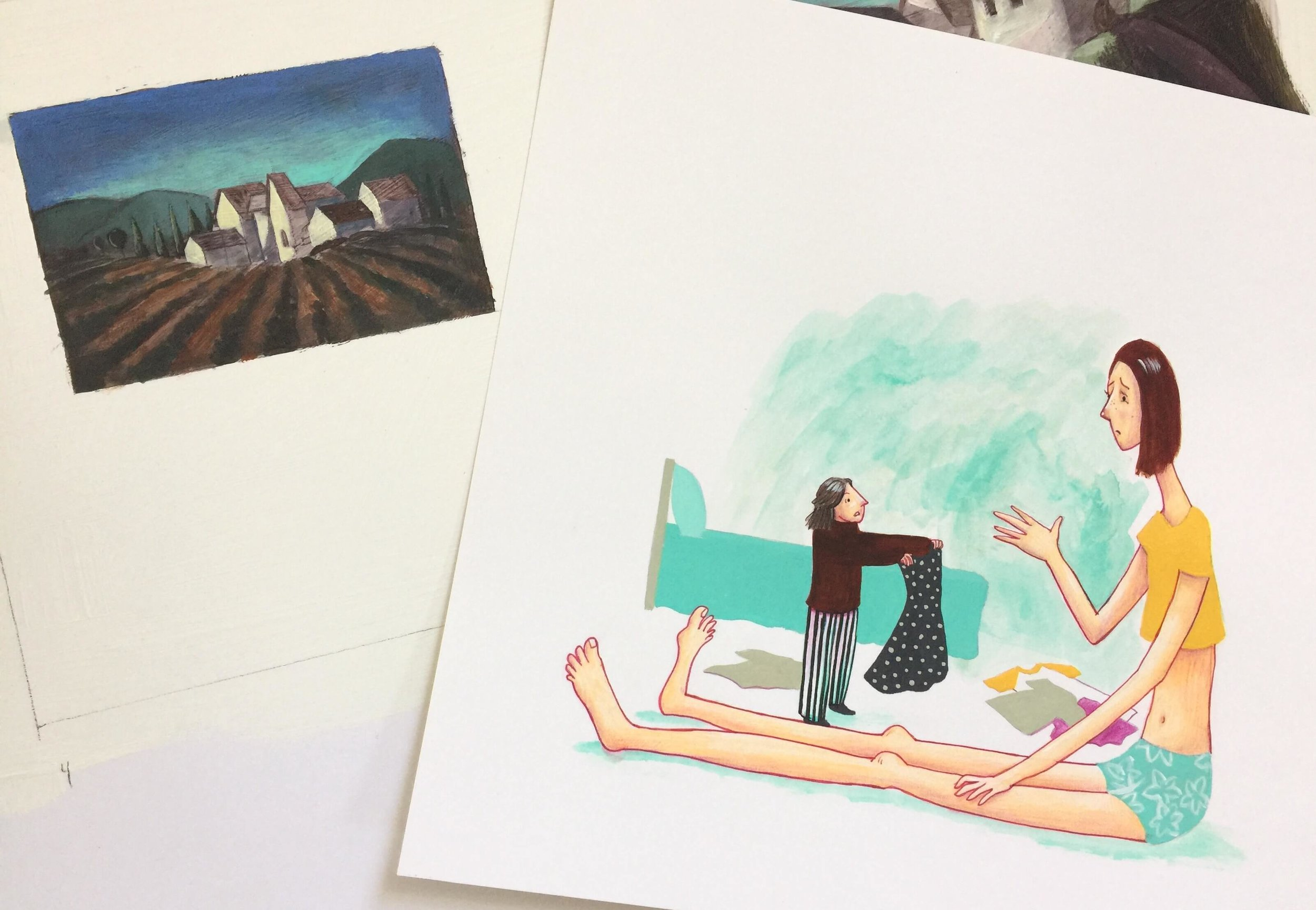 left:  acrylic,  right:  ink, watercolor, gouache, colored pencil,