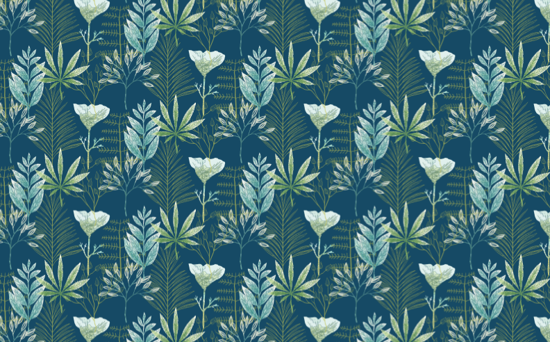 eaze-design-wallpaper-poppy-cannabis-office-illustration