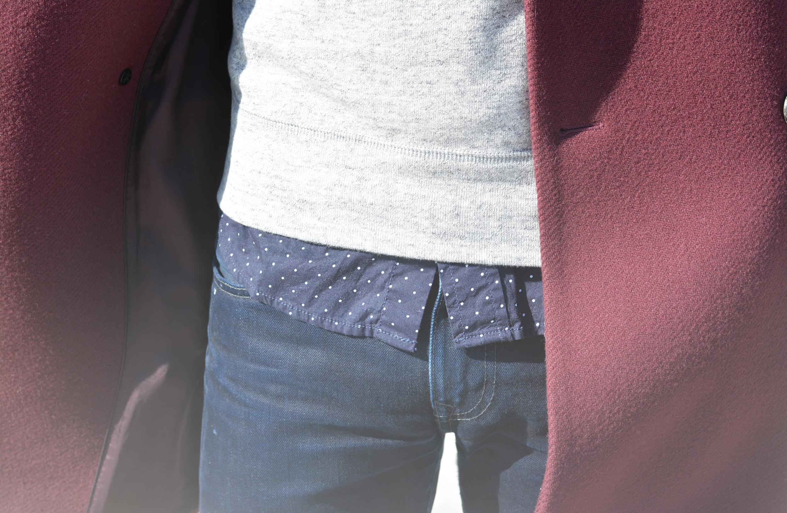 The Modern Otter    Joe Fresh shirt, Uniqlo sweatshirt, Club Monaco topcoat