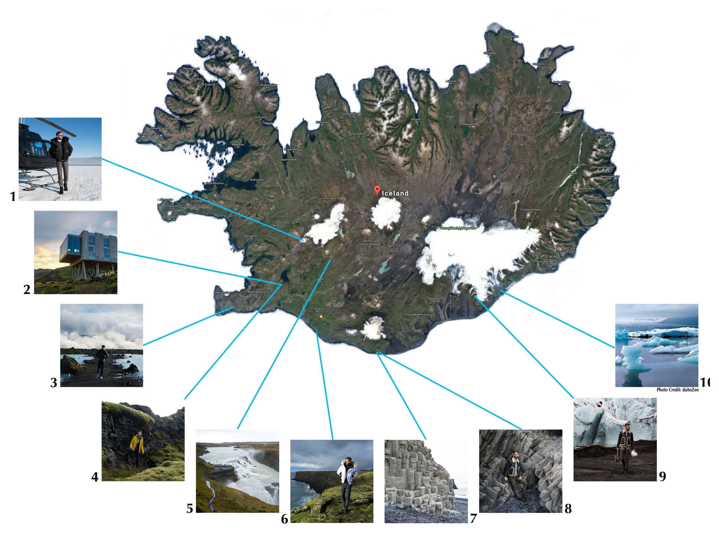 1.  Helicopter landing  spot on Langjökull Glacier.  2.  Ion Adventure Hotel   3.  Blue Lagoon   4. Mossy green Hiking trails behind ION Hotel  5. Gullfoss Waterfall  6. Southern cliffs  7. Black Sand Beach  8. More rock faces at Black Sand Beach  9. Glacier hike at Svínafellsjökull  10. Glacier Lagoon