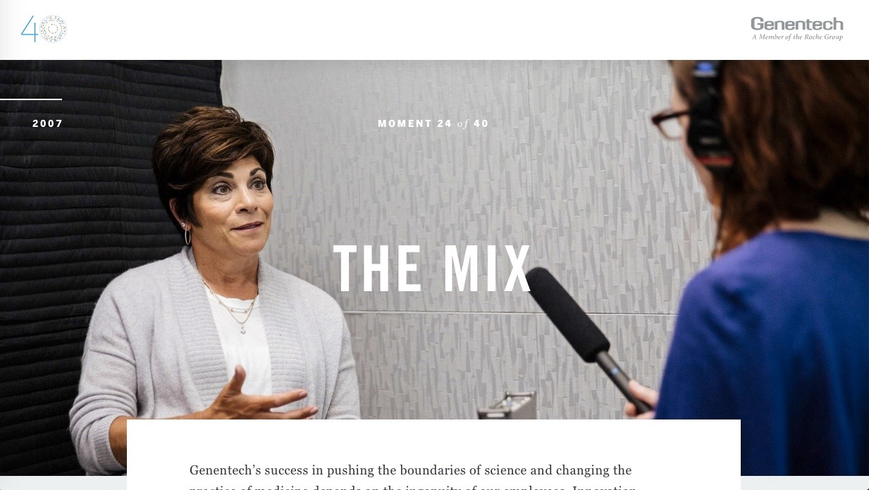 "Standalone podcast for ""The Mix"" for Genentech's 40 Defining Moments. Distributed through gene.com."