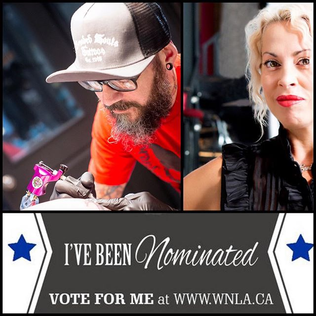 Yay!!! Both Chad @branded_souls_tattoos & Candess @candexx_l  Have been nominated in the categories *Tattoo Studio & *Hair Stylist of the year...At the #winnipegnightlifeawards  Vote Today!!! www.wnla.ca . . . #winnipegsalon #winnipegtattooartist #winnipegtattoostudio #winnipeghairstylist #wpgnow #exchangedistrictwinnipeg #finditdowntown #winnipeglifestyle #winnipegnightlifeawards #nominated #makeithappen #workingtogether #team #honoured #lovewhatyoudo #dowhatyoulove #crownandbeautyboutique