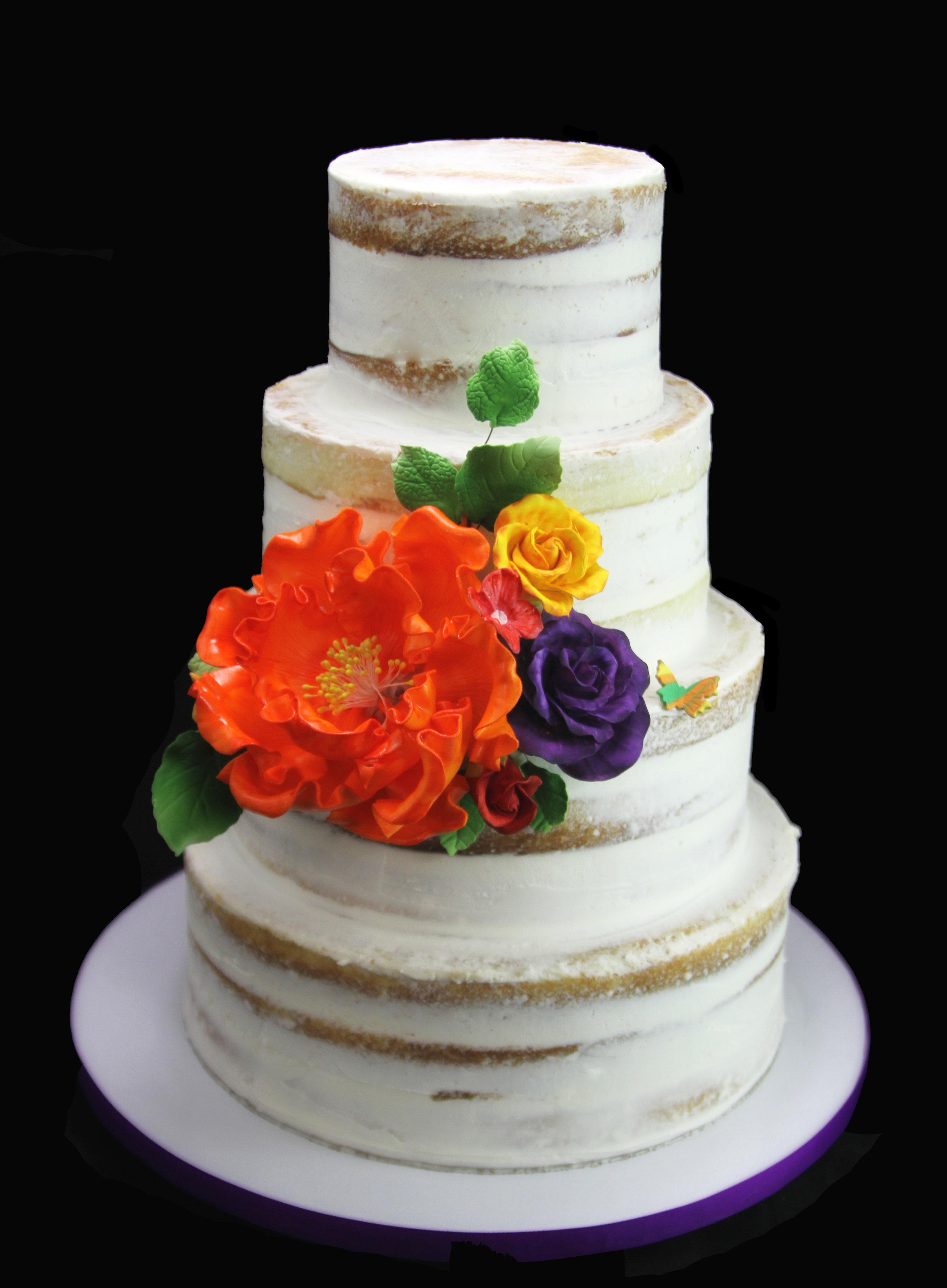 Crumb Coat Wedding Cake with Large Peony.jpg
