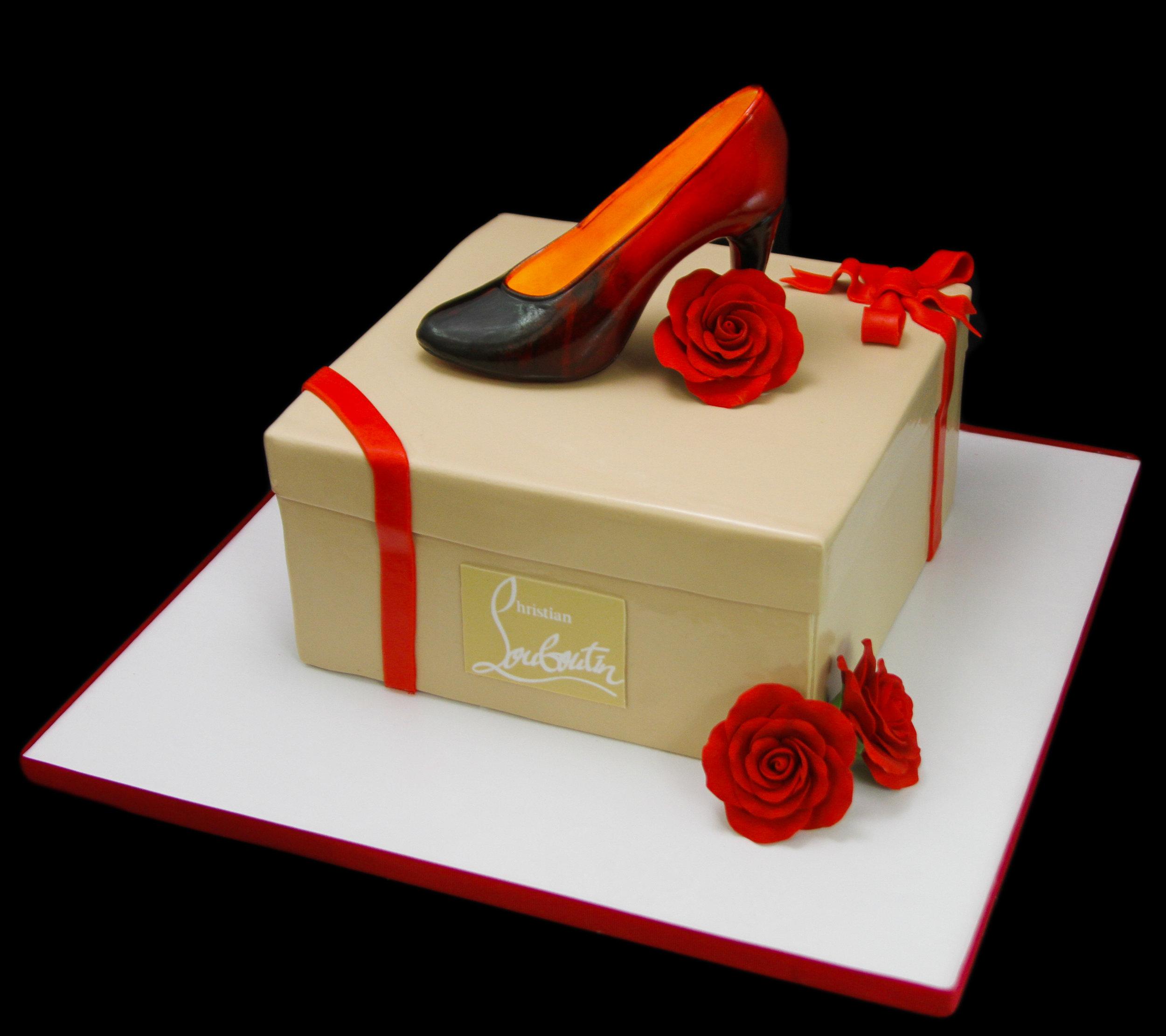 Christian Louboutin Ombre Shoe on a Shoebox Cake.jpg