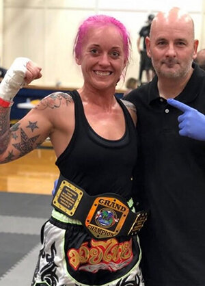 Brittney Bowman, 3 Kings muay thai, Fresno, ca, title won @ santa cruz, aug 3 2019