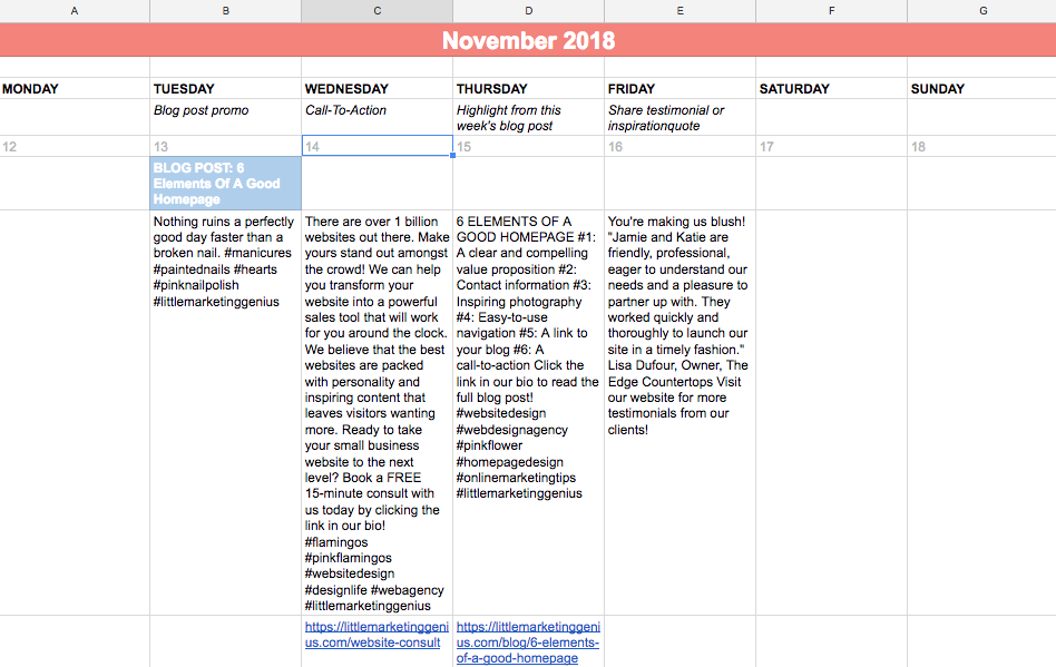 This is one week of content from our November calendar.